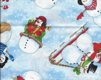 New Winter Christmas Snowmen at Play 100% cotton fabric by the Fat Quarter