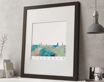 """FRAMED Geometric Stockholm Print, 12""""x10"""" Black or White Frame, Modern Art"""