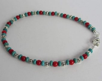 Turquoise and Red Bamboo Coral Ankle Bracelet