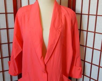Vtg Hot Pink Blazer Jacket Large Polyester 80's USA Made Graff (R3-154)