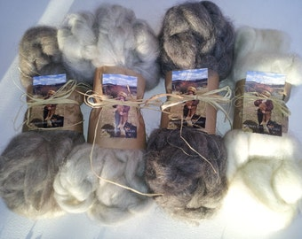 1 Pound Roving Sampler Pack - 4 ounces each grey and brown, 8 ounces of white