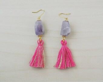 amethyst tassel earrings