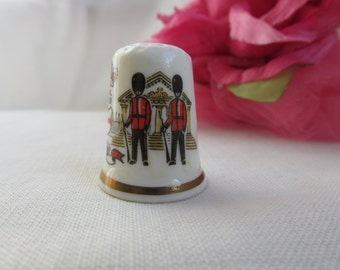 Thimble - English - Bone China - Royal Guards - Vintage