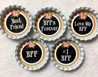 Set Of 5 Best Friend BFF Bottle Cap Magnets