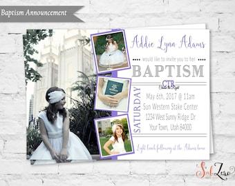 "LDS Girl Baptism Invitation, LDS Baptism Purple Invite, Elegant hand lettering font, 5x7 Printable Digital File, ""Choose the Right"""