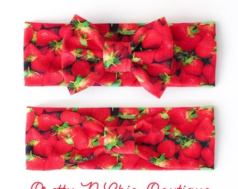 NEW! Stawberry Patch Turban or Bow Headwrap - Strawberry Bow