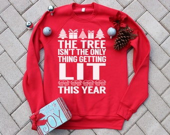 LIT Design.Men's funny drinking christmas sweater.