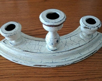 Three candle holder, upcycled for a Shabby chic look.         Item# 216172