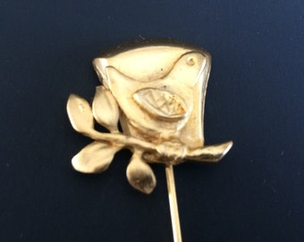 Gold-Plated Bird Perched on Branch Hat Pin