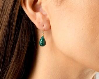 Emerald Earrings/Genuine Emerald Earrings/Faceted Emerald Teardrop Earrings/Green Emerald Earrings/May birthstone