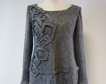 Special price. Extravagant grey mohair blouse, M size.