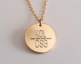 Custom Engraved Necklace - Gold Disc Necklace - Personalized Disc Necklace - Initials Pendant - Gold, Silver, Rose Gold Filled Disc Necklace