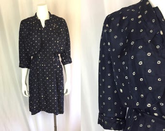 Large/xl ** 1940s SILK SHANGTUNG navy blue novelty print belted dress and jacket ** vintage forties blue silk polka dot dress