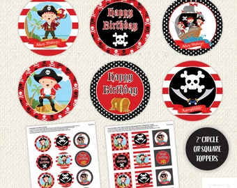 Pirate Cupcake Toppers, Pirate Birthday Party, Pirate Printables, Girl Pirate, Boy Pirate, Cup Cake Topper