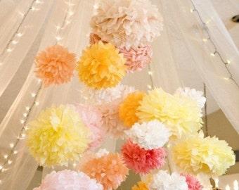 Tissue Paper Flowers set of 10 (5M/5S)  -  Hanging Flowers - Paper Pom Poms - Paper Balls - Wedding set - Birthday decorations