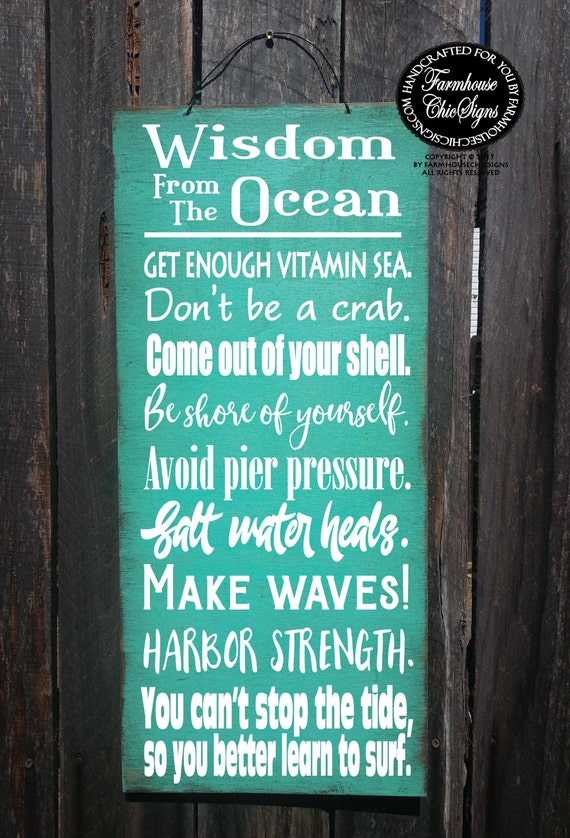 beach decor, beach house decoration, ocean wisdom, wisdom from the ocean, beach advice, beach house, beach wall art, beach wall decor, 276