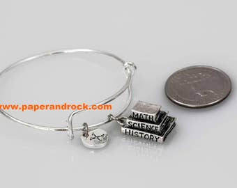 Books initial bangle , book bracelet, teacher appreciation jewelry, gift for elementary teacher, book jewelry, silver book bangle