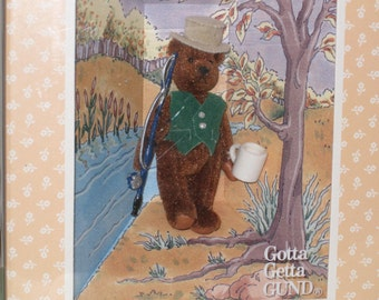 1994 GUND The Littlest Bears - Father #7002 Miniature in Box (Fisherman)