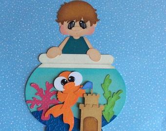 "Boy with goldfish bowl scrapbook paper piecing embellishment 8 3/4"""