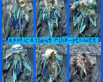 assortment of 6 applications leather-feathers - fur - jewelry
