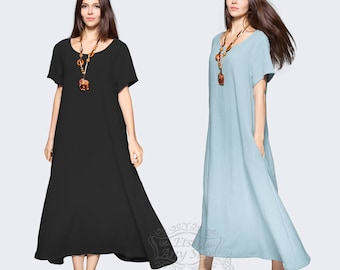 Anysize with sides pockets Enjoy Summer soft linen&cotton loose dress Spring Summer maxi dress plus size dress plus size clothing F131A