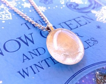 Snow Drop Fairy Stone Pendant Necklace , The Snow Queen , Glass Stone Charm,  Glass Stone Pendant,  Fairy Tale Jewelry, Frost