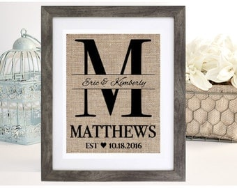 Burlap Monogram, Bridal Shower Gift, Burlap Wedding, Anniversary, Last Name, Personalized Wedding Gift for Couple, Rustic Wedding Gift