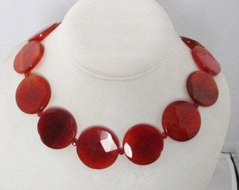Beautiful Carnelian Agate Necklace. Free Shipping
