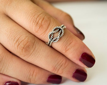 Sterling Silver Ring for Women, Boho Ring, Midi Ring, Oxidized Rope Knot Ring