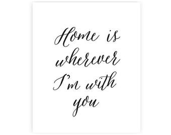 Home is wherever I'm with you - Art Print - 8x10 inches - Download