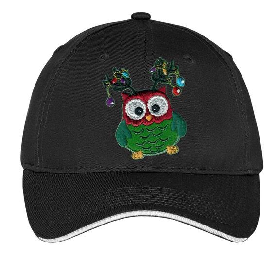 Christmas owl antlers lights hat cap vintage baseball