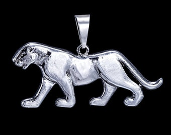 Puma, Panther, Cougar, Mountain Lion, Solid 925 Sterling Silver Pendant