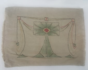 CLEARANCE Vintage arts and crafts embroidered pillow cover needs TLC