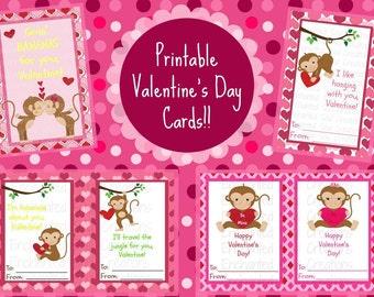 Monkey Printable Valentines, Valentine Printable, Valentine Card, Candy Bag, Digital, School, Card, PDF, Treat Bag, Digital Cards
