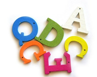 20 Wooden Letter Buttons