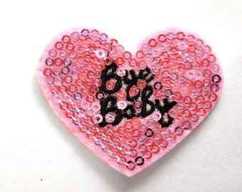 Embroidered Pink Bye Baby Heart Appliqué Sequins