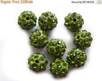 HALF PRICE 10 Green Rhinestone Disco Ball Beads 10mm