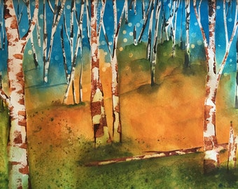 Colorado Art Mountain Aspen Tree Watercolor Painting, ORIGINAL fine art, Bedroom Decor, Dining Room Decor, Office Cubicle Art, Bedroom Art
