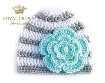 Robin's Egg Blue Flower Baby Hat,Newborn Baby Girl Hat,Newborn Baby Hat,Baby Girl Clothes,Photography Prop,Photo Prop,White Grey