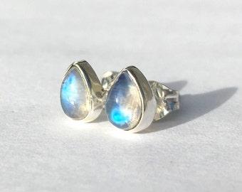 Small Pear Shape Rainbow Moonstone Stud Earrings 6x4mm .. Small Stud Earrings .. Rainbow Moonstone Studs .. Rainbow Moonstone Earrings