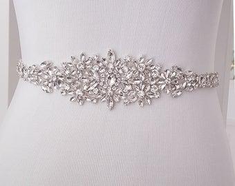 Wedding Belt, Crystal Bridal Belt, Bridal Sash, Beaded Wedding Belt, Silver, Rose Gold - Style 782.1