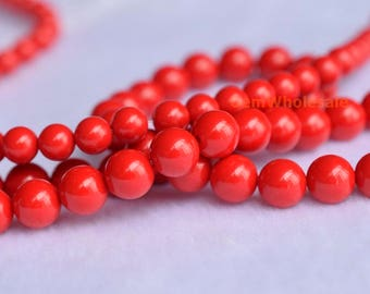"""15.5""""  6mm/8mm man made synthetic red coral round Beads, Red Gemstone Beads ,red DIY stone stone beads"""