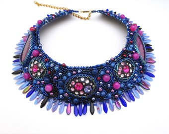 ultra violet statement necklace - one of a kind jewelry - ultra violet, crystal necklace - colorful necklace - bohemian jewelry