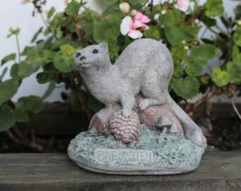 Pine Marten, Weasel Stone Garden Ornament, Lawn Decor,- Made in Cornwall, Cornwall Stoneware, Garden Gift Idea