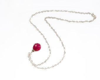 Fuchsia Pink - Agate - Pendant - Necklace