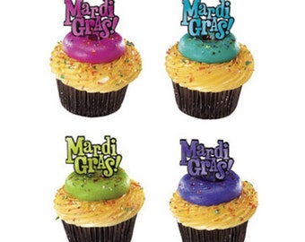 24 Mardi Gras Word Cupcake Picks Party Supplies Cake Toppers Decorations