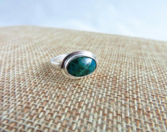 Chrysocolla Azurite Sterling Ring   (Size 6)