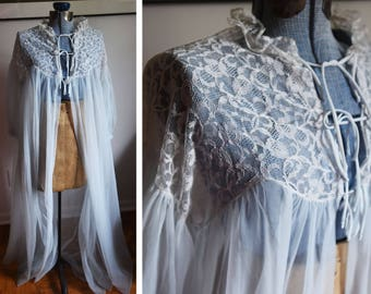 Large - Baby Blue Ntlon and Lace Robe - by Radciffe