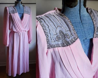 Medium / Large - Beautiful Pink Dress with Beaded Detail