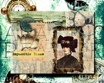 Steampunk Journal  Impossible Dream  DIY Journal  Junk Journal Kit  Printable Journal  Steampunk Art  Clip Art  clipart  Ephemera Pack